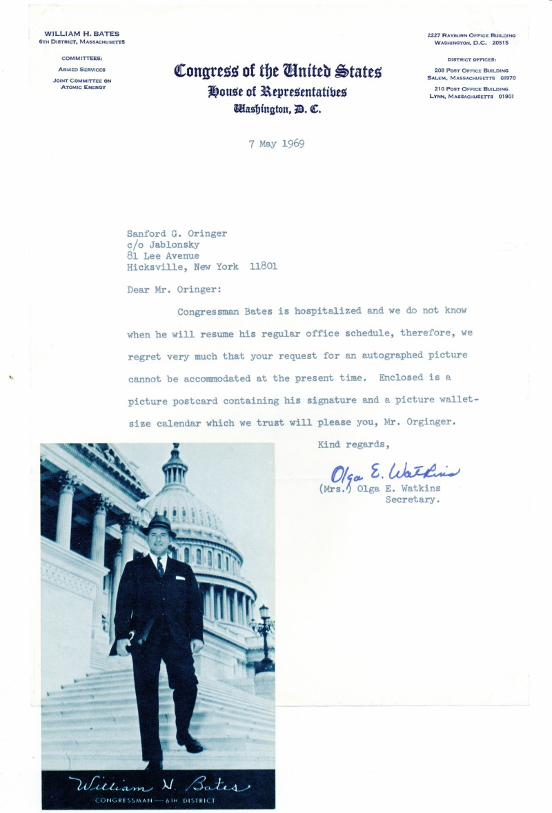 William H. Bates Letter and Card